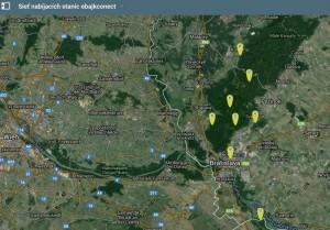 Mapa nabíjacích staníc